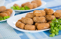 Popular side dish Croquetas fritas Stock Images