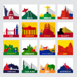 Popular sightseeing spots in the world icons Stock Images