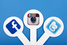 Popular social media icons Royalty Free Stock Photos