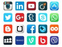 Popular social media icons. Kiev, Ukraine - January 23, 2016: Popular social media icons such as: Facebook, Twitter, Blogger, Linkedin, Tumblr, Myspace and Royalty Free Stock Photos