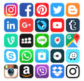 Popular social media icons. Kiev, Ukraine - May 25, 2016: Popular social media icons such as: Facebook, Twitter, Blogger, Linkedin, Tumblr, Myspace and others Stock Photos