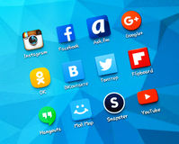 Popular social media icons on the screen of smartphone Royalty Free Stock Image