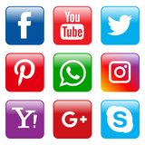 Popular social media icons set square. Vector illustration of popular social media square icons on white background Stock Photo