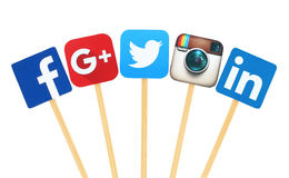 Free Popular Social Media Logo Signs Printed On Paper, Cut And Pasted On Wooden Stick Stock Photos - 66795453