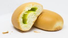 Yellow soft bread pandanus cream inside. stock photo