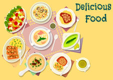 Popular soups with meat and fish dishes icon. Popular soup with meat and fish dishes icon of chicken celery salad, pork cutlet with cheese crust, mushroom cream Stock Image