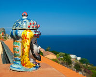 Popular souvenir from Sicily - ceramics vase fron Caltagirone Royalty Free Stock Image