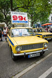 The popular Soviet car VAZ 2101 in the colors of the traffic police of the USSR. Stock Photo