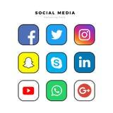 Popular square social media : Facebook, Twitter, Instagram, Snapchat, LinkedIn, Skype, Google , WhatsApp, Yo. Popular square social media logos printed on paper royalty free illustration