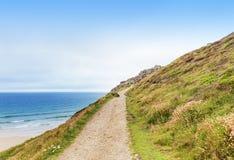Popular St Agnes and Chapel Porth Atlantic ocean coast, Cornwall Stock Photography