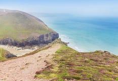 Popular St Agnes and Chapel Porth Atlantic ocean coast, Cornwall Stock Photo