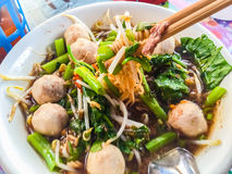 Popular street food in Thailand (Kuai Tiao Moo Namtok) that cons Royalty Free Stock Images