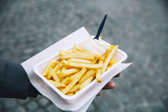 Popular street junk food in Holland Amsterdam is French Fries wi. Tourist holds popular street junk food - French Fries with mayonnaise in Holland, Amsterdam royalty free stock images