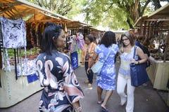 Popular street market in Rio de Janeiro. Rio de Janeiro, Brazil - november 28, 2018: Popular street market in the square Saens Pena in Bairro da Tijuca, sale of stock photo