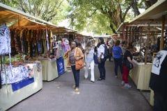 Popular street market in Rio de Janeiro. Rio de Janeiro, Brazil - november 28, 2018: Popular street market in the square Saens Pena in Bairro da Tijuca, sale of stock images