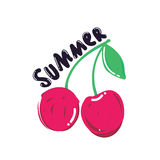 Popular summer berry. Poster. Cherry vector logo design template. fruit food icon Stock Photos
