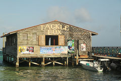 Popular Tackle Box Bar and Grill at the waterfront in San Pedro, Belize. SAN PEDRO, BELIZE - JUNE 10: Popular Tackle Box Bar and Grill at the waterfront in San Royalty Free Stock Photos