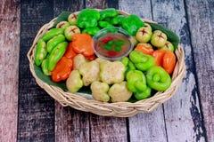 Popular Thai dessert in Deletable imitation fruits,Mung beans th stock photos