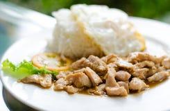 Popular Thai  food, (kaTeam  Pic Thai ). Stock Photos