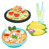 Popular Thai food papaya salad set  Stock Images