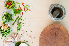 Popular Thai ingredient herbs with mortar and block Stock Photo
