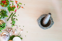 Popular Thai ingredient herbs with mortar Stock Photography