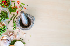 Popular Thai ingredient herbs with mortar Royalty Free Stock Photography
