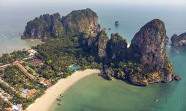 Popular Thai Railey Beach aerial view from drone royalty free stock images