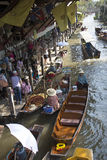 A popular Thai tourist attraction floating market Thailand Royalty Free Stock Photos