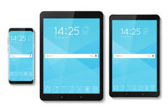 Popular top model of modern frameless smartphone and tablet. Tec Royalty Free Stock Image