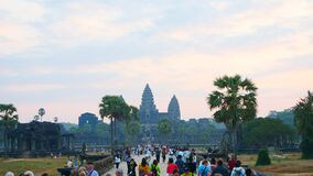Popular tourist attraction ancient temple complex Angkor Wat in Siem Reap, Cambodia