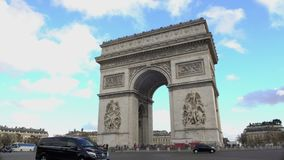 Popular tourist attraction in Paris, crowds of people viewing Triumphal Arch. Stock footage stock video footage