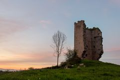 Popular tourist attraction site: Ruins of a medieval tower castle of XII century. Asturias. Spain. Popular tourist attraction site: Ruins of a medieval tower stock photos