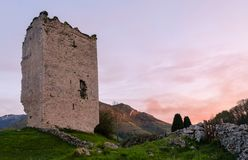 Popular tourist attraction site: Ruins of a medieval tower castle of XII century. Asturias. Spain. Popular tourist attraction site: Ruins of a medieval tower royalty free stock images
