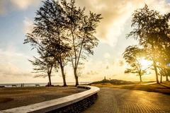 Popular tourist attractions and a sea of people in Songkhla prov. Major attractions is the viewpoint Sunrise and sunset royalty free stock image