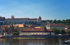 Panoramic view of Prague on spring day. Popular tourist destination in Prague Stock Photography
