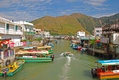 Popular Tourist Destination Tai O Fishing Village. Taken on the Bridge connecting the two islands of the same town royalty free stock photo