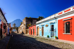 Popular tourist street, Antigua, Guatemala royalty free stock photo