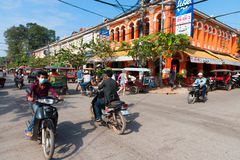 Popular tourist street in  in Siem Reap, Cambodia Royalty Free Stock Photography