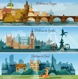 Popular touristic cities flat banners set. International vacation tours advertisement 3 flat banners set poster with european capitals sights abstract isolated Stock Photo