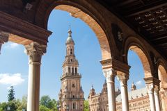 Tower at Plaza de Espana in park of Maria Luisa in Seville Spain. royalty free stock image