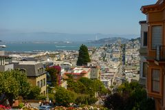Popular touristic landmark Lombard street at sunny day time. San Francisco, USA - September 10, 2018: Popular touristic landmark Lombard street at sunny day time royalty free stock images