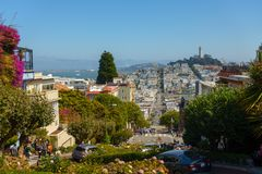 Popular touristic landmark Lombard street at sunny day time. San Francisco, USA - September 10, 2018: Popular touristic landmark Lombard street at sunny day time stock photography