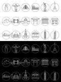 Popular travel landmarks icons Stock Images