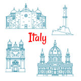 Popular travel landmarks of Italy thin line icon Stock Photo