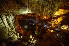 Illuminated ceilling Prometheus Cave. Popular traveling destination georgia illuminated ceilling Prometheus Cave stock photography