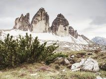 The popular Tre Cime di Lavaredo. The most famous peaks stock images