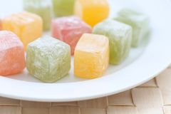Popular Turkish delight. In a plate royalty free stock images