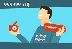 Popular Video Blogger With Like Subscribe Royalty Free Stock Image
