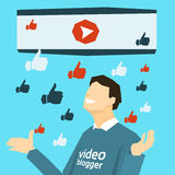 Popular Video Blogger With Like Thumb Up Stock Images
